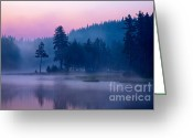 Twilight Greeting Cards - Violet Lake Greeting Card by Evgeni Dinev