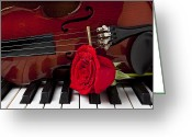 Red Rose Greeting Cards - Violin and rose on piano Greeting Card by Garry Gay