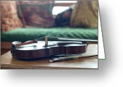 Indoors Home Greeting Cards - Violin At Cottage Greeting Card by Madelyn Mulvaney