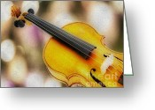 Chin Greeting Cards - Violin Greeting Card by Cheryl Young