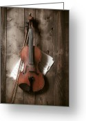 Holes Greeting Cards - Violin Greeting Card by Garry Gay