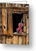 Western Greeting Cards - Violin in window Greeting Card by Garry Gay