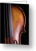 Mac Miller Greeting Cards - Violin Isolated on Black Greeting Card by M K  Miller
