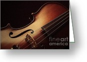 Musical Art Greeting Cards - Violin Greeting Card by Linda Fowler