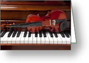 Wooden Greeting Cards - Violin on piano Greeting Card by Garry Gay