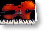 Pianos Greeting Cards - Violin On Piano Keys Greeting Card by Garry Gay