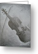Instruments Drawings Greeting Cards - Violin Greeting Card by Tatiana Baze