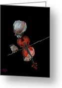 Musicians Pastels Greeting Cards - Violin Virtuoso Greeting Card by Arline Wagner
