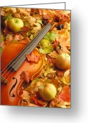 Maple Leaves Greeting Cards - Violin with Fallen Leaves Greeting Card by Utah Images