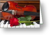 Red Rose Greeting Cards - Violin with rose on piano Greeting Card by Garry Gay