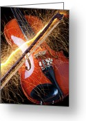 Symphony Greeting Cards - Violin with sparks flying from the bow Greeting Card by Garry Gay