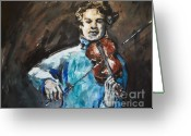 Music Notes Greeting Cards - Violinist1 Greeting Card by Denise Justice