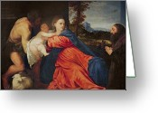 Christ Child Greeting Cards - Virgin and Infant with Saint John the Baptist and Donor Greeting Card by Titian