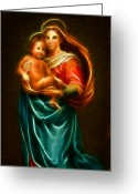 Good Friday Digital Art Greeting Cards - Virgin Mary And Baby Jesus Greeting Card by Pamela Johnson