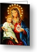 Good Friday Digital Art Greeting Cards - Virgin Mary And Baby Jesus Sacred Heart Greeting Card by Pamela Johnson