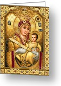 Jesus  Tapestries - Textiles Greeting Cards - Virgin Mary of Bethlehem Icon Greeting Card by Stoyanka Ivanova
