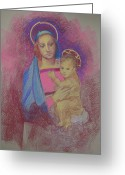 Christ Child Greeting Cards - Virgin Mary with Baby Jesus Greeting Card by Suzanne Cerny