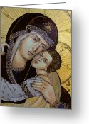 Byzantine Greeting Cards - Virgin with child - detail Greeting Card by Iconos Art
