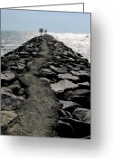 Ocean Path Greeting Cards - Virginia Beach Jetty Greeting Card by Janice Paige Chow