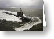Submarines Greeting Cards - Virginia-class Attack Submarine Greeting Card by Stocktrek Images
