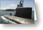 Submarines Greeting Cards - Virginia-class Attack Submarine Uss Greeting Card by Stocktrek Images