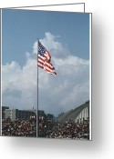Flag Of The United States Greeting Cards - Virginia Tech Lane Stadium Flag Greeting Card by Jonathan Whichard