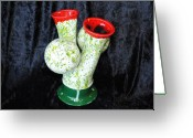 Earth Tones Ceramics Greeting Cards - Virility Vase Greeting Card by John Johnson
