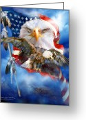 Eagle Art Greeting Cards - Vision Of Freedom Greeting Card by Carol Cavalaris
