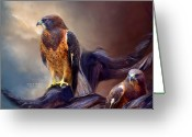 Spirit Hawk Art Greeting Cards - Vision Of The Hawk 2 Greeting Card by Carol Cavalaris