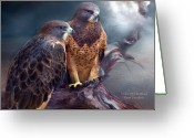 Spirit Hawk Art Greeting Cards - Vision Of The Hawk Greeting Card by Carol Cavalaris