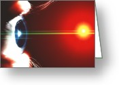 Laser Beam Greeting Cards - Vision Greeting Card by Pasieka