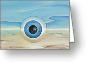 Surrealistic Painting Greeting Cards - Vision Thing Greeting Card by David Junod