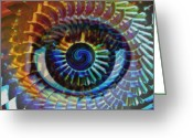 Colorful Tapestries Textiles Greeting Cards - Visionary Greeting Card by Gwyn Newcombe