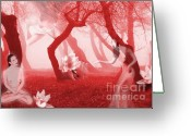 Surrealism Digital Art Greeting Cards - Visions in Red - Self Portrait Greeting Card by Jaeda DeWalt