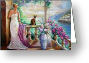 South France Greeting Cards - Visit with a furry friend Greeting Card by Gina Femrite