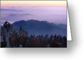 Tai Greeting Cards - Visitors To Mt. Tai Crowd Its Peak Greeting Card by O. Louis Mazzatenta