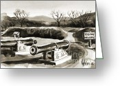 Pilot Knob Greeting Cards - Visitors Welcome BW Greeting Card by Kip DeVore