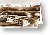 Pilot Knob Greeting Cards - Visitors Welcome in Sepia Greeting Card by Kip DeVore
