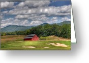Playing Golf Greeting Cards - Vista Links Barn Greeting Card by Todd Hostetter