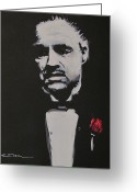 Brando Greeting Cards - Vito Andolini Corleone Greeting Card by Eric Dee