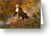 Vulpes Greeting Cards - Vixen by the River Greeting Card by Daniel Eskridge
