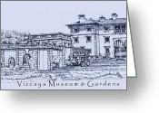 Miami Drawings Greeting Cards - Vizcaya Museum in blue Greeting Card by Lee-Ann Adendorff