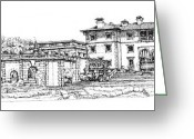 Miami Drawings Greeting Cards - Vizcaya Museum in Miami Greeting Card by Lee-Ann Adendorff