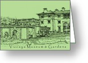 Miami Drawings Greeting Cards - Vizcaya Museum in olive green Greeting Card by Lee-Ann Adendorff