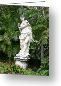 Flowers Miami Greeting Cards - Vizcaya Sculpture with palms Greeting Card by Kevin Doty