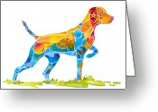 Cheerful Greeting Cards - Vizsla on Point Greeting Card by Jo Lynch
