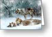 Snow Digital Art Greeting Cards - Vladimir Vanessa and the Vixens  Greeting Card by Julie L Hoddinott