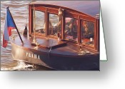 Vltava Digital Art Greeting Cards - Vltava River Boat Greeting Card by Shawn Wallwork