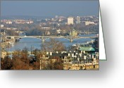 River Scenes Greeting Cards - Vltava river in Prague - Tricky laziness Greeting Card by Christine Till