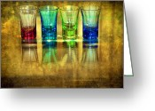 Illuminated Glass Greeting Cards - Vodka Glasses Greeting Card by Svetlana Sewell